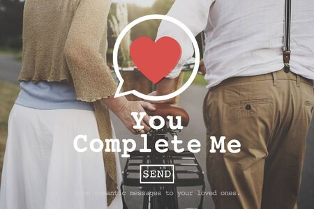 fulfill: You Complete Me Fulfill Valentine Romance Love Heart Dating Concept