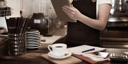Concepto Barista Cafe Cafetería servicio al propietario