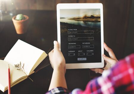 Flight Online Booking Network Connection Concept