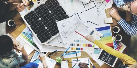 太陽電池エネルギー環境発電ジェネレーターのコンセプト 写真素材