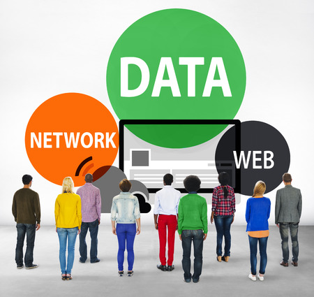 facing backwards: Data Network Web Internet Connection Global Concept Stock Photo