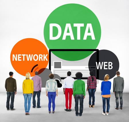 facing backwards: Data Network Web Internet Connection Global Concept Stock Photo