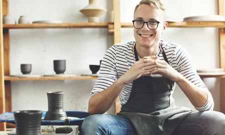 Artisan Artiste Pottery Skill Atelier Concept Banque d'images