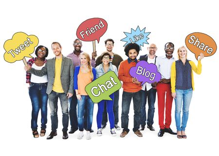 networking people: Social Networking People Holding Speech Bubbles Concept