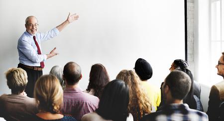 Business Team Seminar Listening Meeting Concept Banque d'images