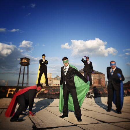 conquering: Superhero Achievement Conquering Lerdership Concept Stock Photo