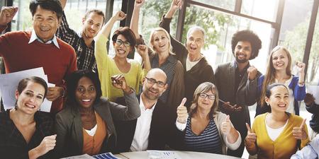 happy business team: Business Team Success Achievement Arm Raised Concept Stock Photo
