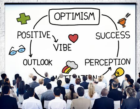outlook: Optimism Positive Outlook Vibe Perception Vision Concept Stock Photo