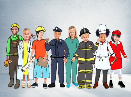 occupation: Children Kids Dream Jobs Diversity Occupations Concept Stock Photo