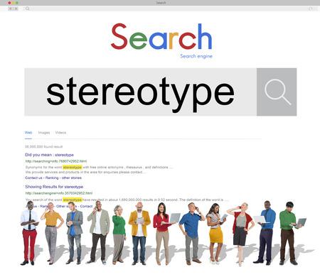 estereotipo: La creencia estereotipo Concepto Percepci�n Bias prejuicio Discriminaci�n Foto de archivo