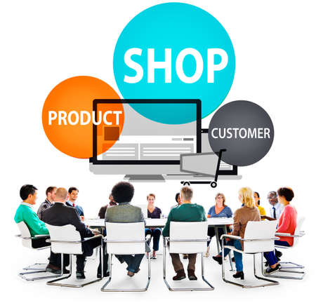 business products: Shop Product Customer Buying Commercial Consumer Concept Stock Photo