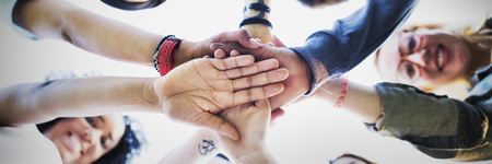 participation: Team Hands Together Teamwork Participation People Concept