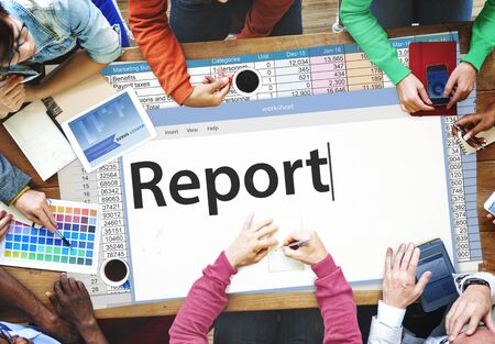 reporting: Report Reporting Resulting Information Article Concept Stock Photo