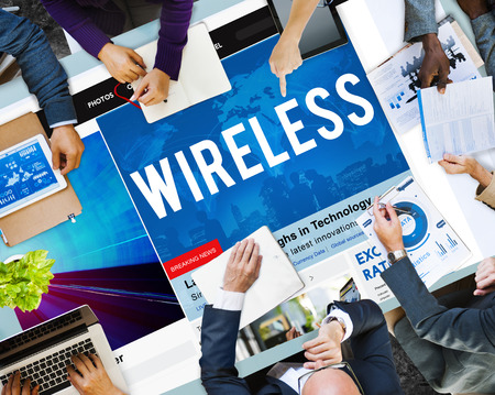 People in a meeting with wireless and internet concept Stock fotó - 108966849