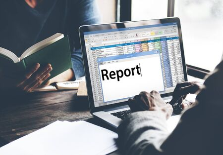 resulting: Report Reporting Resulting Information Article Concept Stock Photo