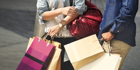 Shopping Couple Capitalism Enjoying Romance Spending Concept Banco de Imagens