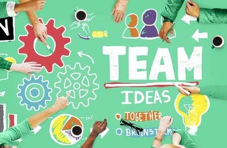 colaboracion: Teamwork Team Collaboration Connection Togetherness Unity Concept