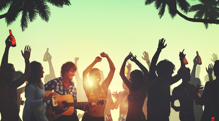 party people: People Celebration Beach Party Summer Holiday Vacation Concept