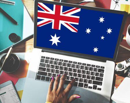 nationality: Australia Flag Country Nationality Liberty Concept Stock Photo