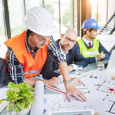 asian architect: Architect Working Planning Analysis Teamwork Blueprint Concept