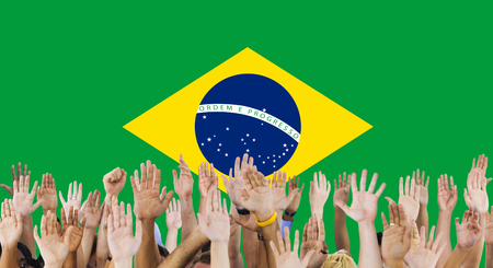 raise the white flag: Brazil National Flag Group of People Concept