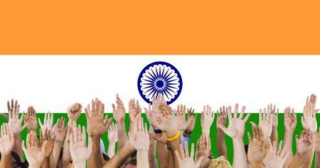 raise the white flag: India Flag Patriotism Indian Pride Unity Concept Stock Photo
