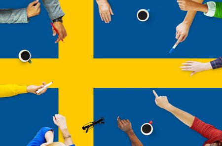 education in sweden: Sweden National Flag Government Freedom LIberty Concept Stock Photo