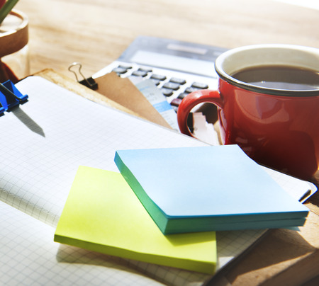 note pad: Adhive Note Cluttered Objects Office Working Station Concept
