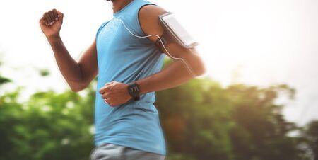 playlist: Sportman Sportwoman Podcast Playlist Athlete Concept Stock Photo