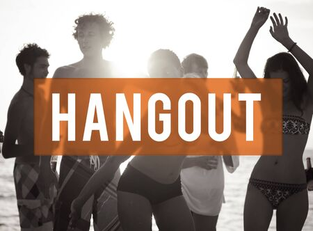 hangout: Summer Beach Friendship Holiday Vacation Hangout Concept Stock Photo