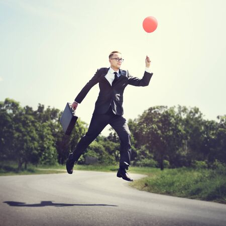 Balloon Executive Flying Success Business Rise Start Concept Stock Photo
