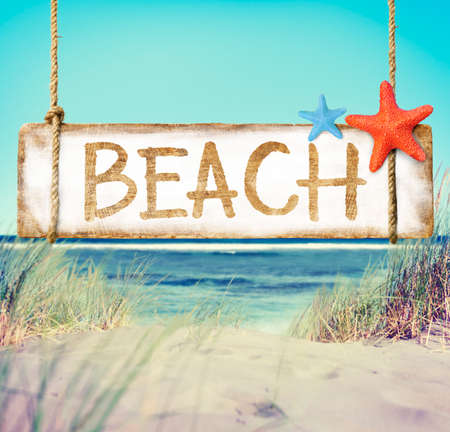 a placard: Beach Timber Placard Holiday Vacation Coastline Concept