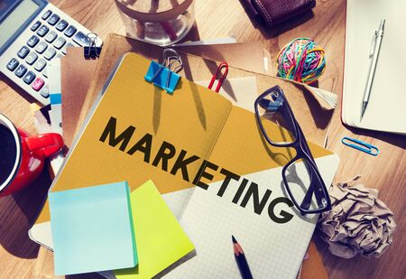 Estacionaria escritorio de oficina Concepto sucio Marketing de marca