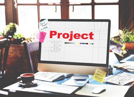 venture: Project Plan Operation Job Strategy Venture Task Concept Stock Photo