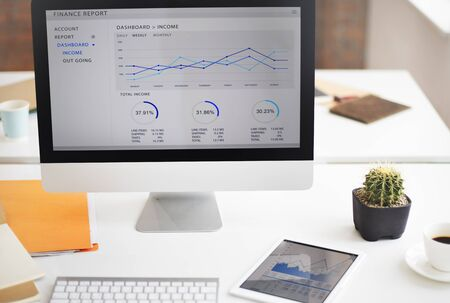 financial target: Computer Graph Growth Success Finance Economy Concept Stock Photo