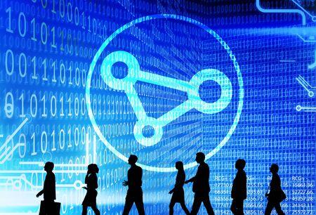 codigo binario: Business People Binary Code Sharing Technology Concept