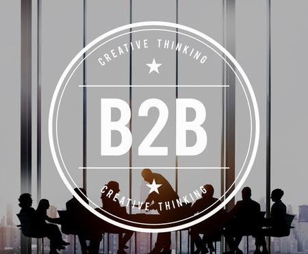 b2b: B2B Business to Business Transaction Partnership Concept Foto de archivo