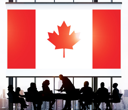Canada National Flag Business Team Meeting Concept