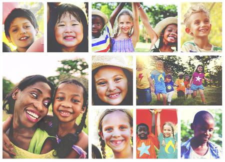 enjoyment: Children Family Enjoyment Playful Summer Casual Concept Stock Photo