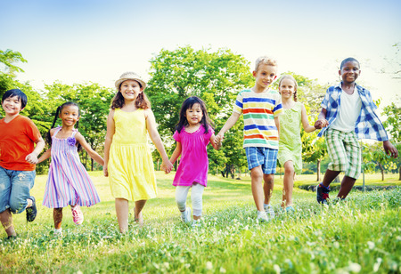 ethnic people: Children Kids Friendship Walking Happiness Concept Stock Photo