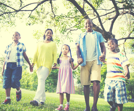 family walking: African Family Happiness Holiday Vacation Activity Concept