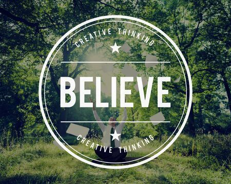 getting away from it all: Believe Faith Spirituality Religion Hope Mindset Worship Concept Stock Photo