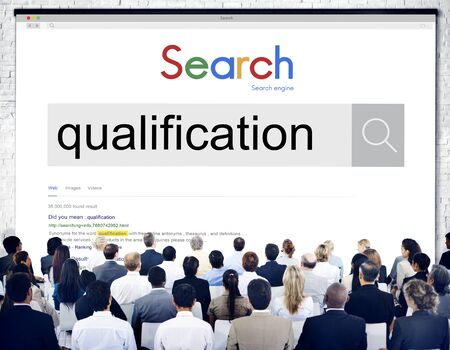 qualified worker: Qualification Certificate Diploma Qualify Suitable Concept