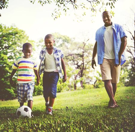family outdoor: African Family Happiness Holiday Vacation Activity Concept
