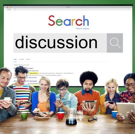 argumento: Argumento Discusión Discusión Debate Negociar Concept