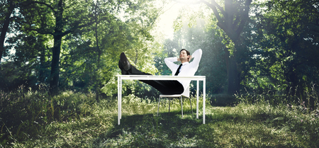 free business: Businessman Working With The Nature Concept Stock Photo