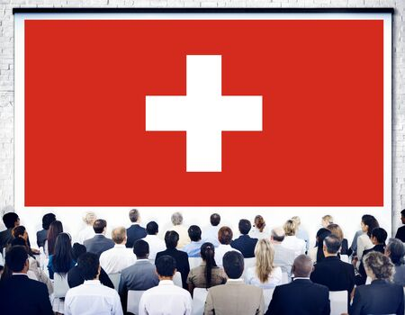 swiss culture: Switzerland National Flag Seminar Business Concept