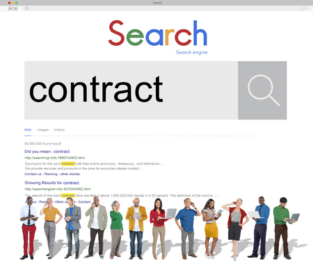 Business people with contract search