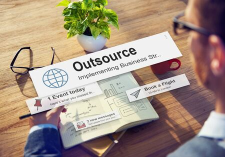 outsource: Outsource Task Contract Work Supplier Concept