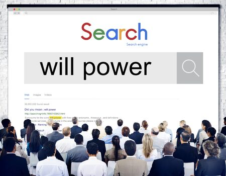 will power: Will Power Commitment Control Courage Dedicate Concept Stock Photo